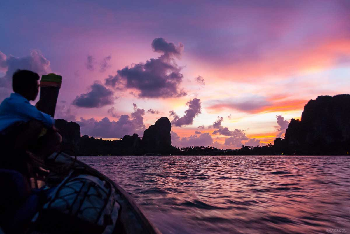 Sunset in Thailand heading to Railay Island