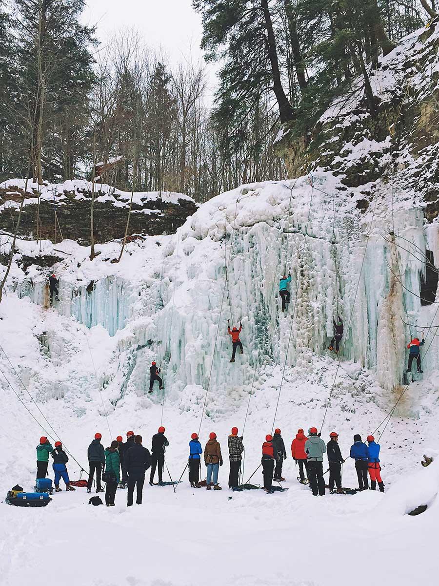 Ice climbing lessons at Tiffany Falls