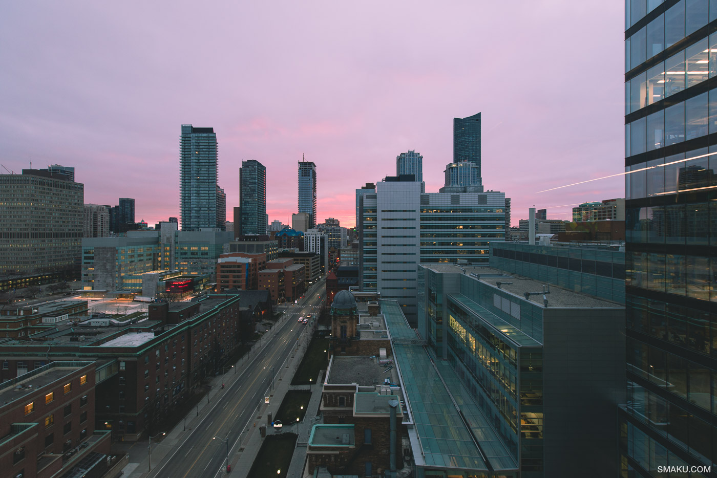 The sunrise as seen from a window of Facebook Canada.