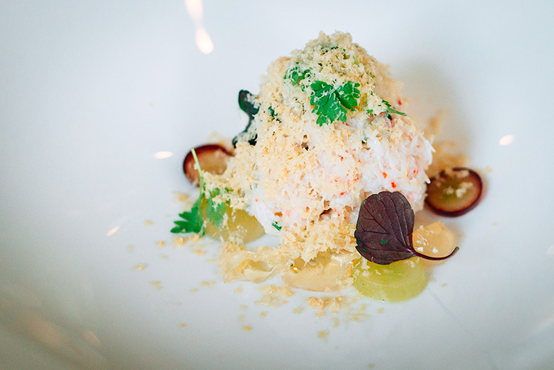 Fogo Island Snow Crab: Cured foie gras, Niagara grapes. Paired with 2014 J.M. Soher Pinot Gris, Grand Cru, Winzenberg.
