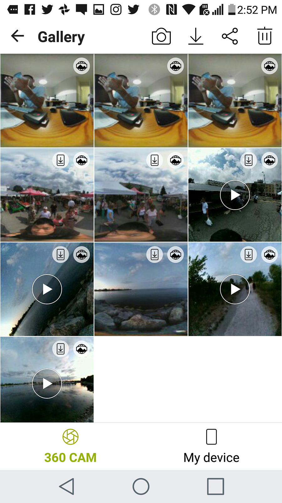 All the 360 photos and videos on the LG 360 Camera.