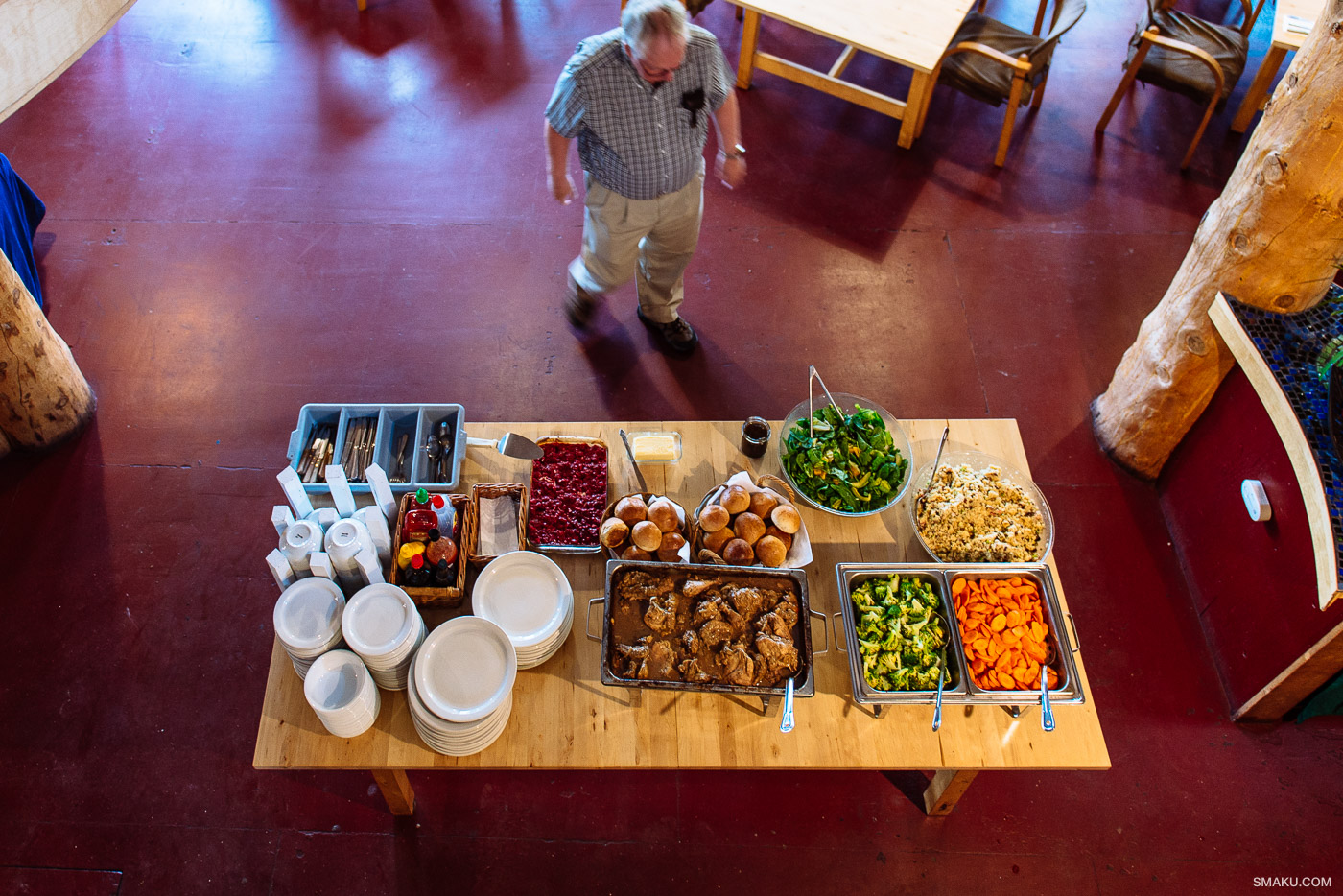 The buffet-style food table.